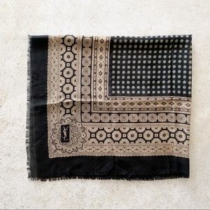 🍂 VINTAGE YSL Scarf Wrap Fringe Paisley Wool Silk